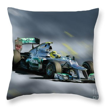 Nico Rosberg Mercedes Benz Throw Pillow