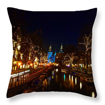 Nieuwe Spieglestraat At Night Throw Pillow
