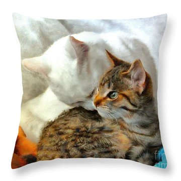 Nieve With Her New Friend Throw Pillow