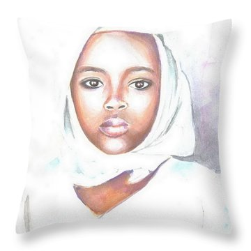 Nigerian Girl Throw Pillow by Jovica Kostic