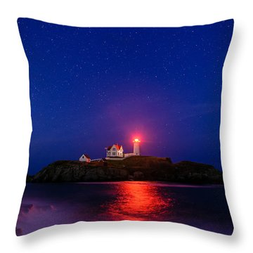 Night At Nubble Light Throw Pillow