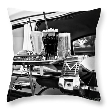 Night At The Drive-in Movies Throw Pillow