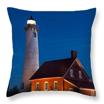 Night At The Lighthouse Throw Pillow by Patrick Shupert