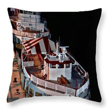 Night Berthing Throw Pillow by Richard Bean
