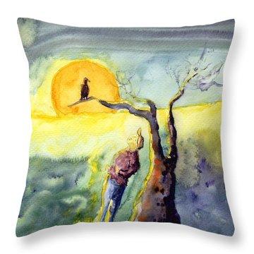 Night Bird Omen Throw Pillow