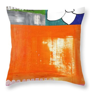 Night Bloom- Colorful Abstract Art Throw Pillow