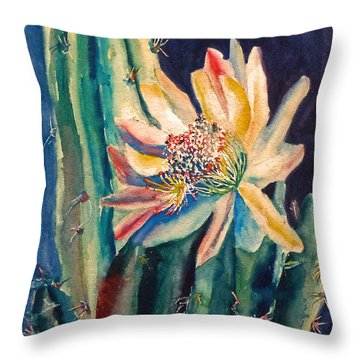 Night Blooming Cactus Throw Pillow