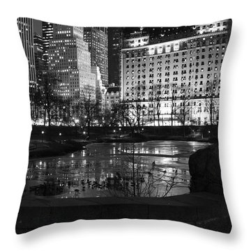 Night Central Park Lake H Throw Pillow