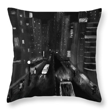 Night City Scape Throw Pillow