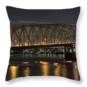 Night Crossing At I-5 Throw Pillow