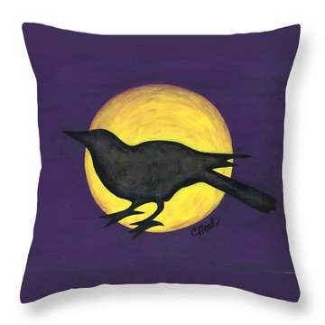 Night Crow On Purple Throw Pillow