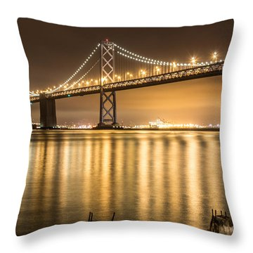 Night Descending On The Bay Bridge Throw Pillow
