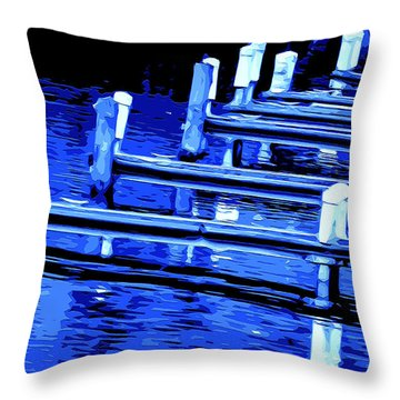 Throw Pillow featuring the mixed media Night Docks by Brian Stevens