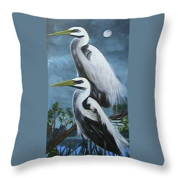 Night Egrets Throw Pillow by Catherine Swerediuk
