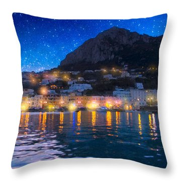 Night Falls On Beautiful Capri - Italy Throw Pillow by Mark E Tisdale
