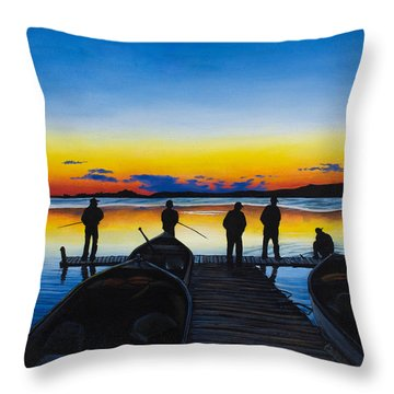 Throw Pillow featuring the painting Night Fishing by Aaron Spong