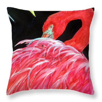 Night Flamingo Throw Pillow