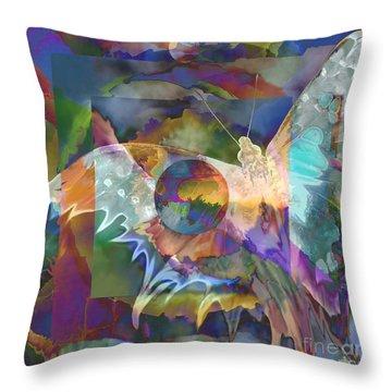 Throw Pillow featuring the digital art Night Flight by Ursula Freer