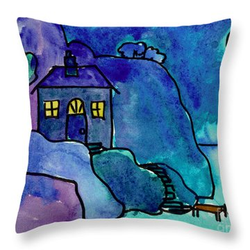 Night Harbor Throw Pillow