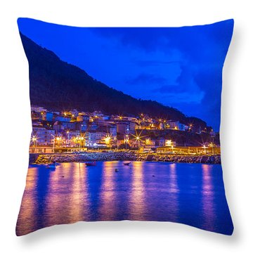 Throw Pillow featuring the photograph Night Harbour by Gary Gillette
