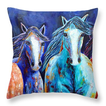 Night Horse Rendezvous Throw Pillow
