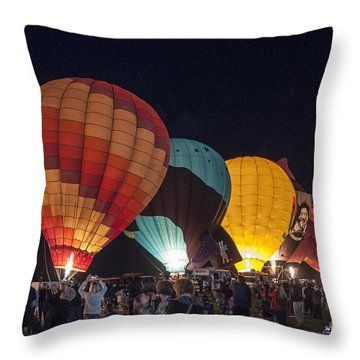 Night Hot Air Balloon Festival Throw Pillow