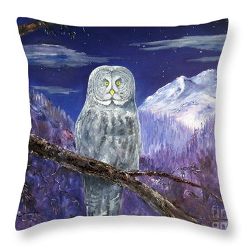Throw Pillow featuring the painting Night Hunter by Lee Piper