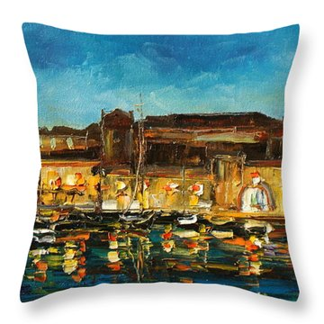 Night In Dubrovnik Harbour Throw Pillow
