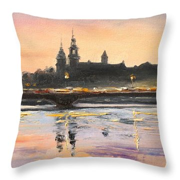 Night In Krakow Throw Pillow