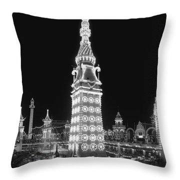 Night In Luna Park Throw Pillow by Georgia Fowler