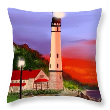 Throw Pillow featuring the digital art Night Lights 2 by Anthony Fishburne