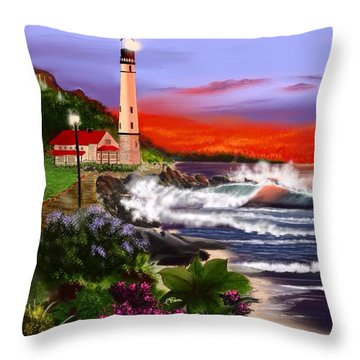 Night Lights Throw Pillow by Anthony Fishburne