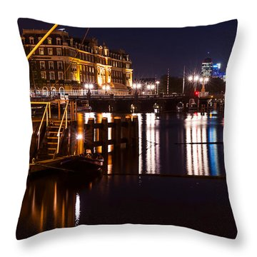 Night Lights On The Amsterdam Canals 2. Holland Throw Pillow by Jenny Rainbow