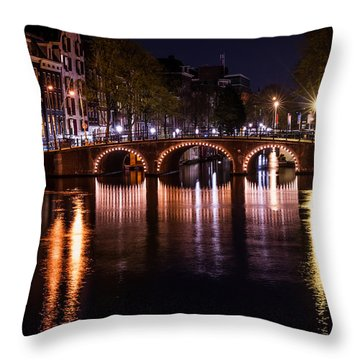 Night Lights On The Amsterdam Canals 4. Holland Throw Pillow by Jenny Rainbow
