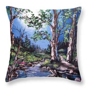 Throw Pillow featuring the painting Night Music by Megan Walsh