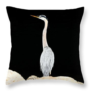 Night Of The Blue Heron  Throw Pillow