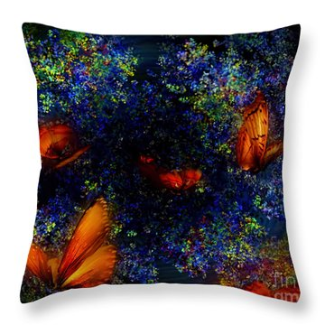 Throw Pillow featuring the digital art Night Of The Butterflies by Olga Hamilton