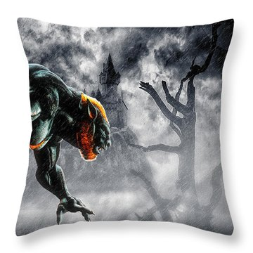 Night Of The Lycan Throw Pillow by Bob Orsillo