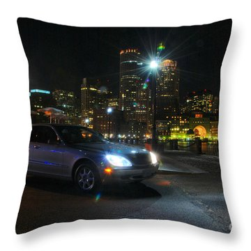 Night Out In Boston Throw Pillow