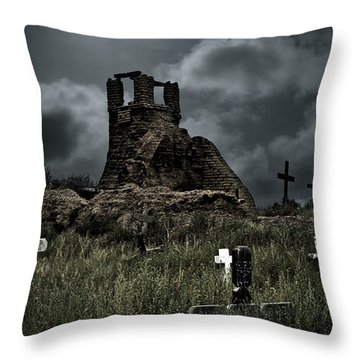 Night Over Taos Pueblo New Mexico Throw Pillow by Christine Till
