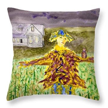 Night Owl Scarecrow Throw Pillow