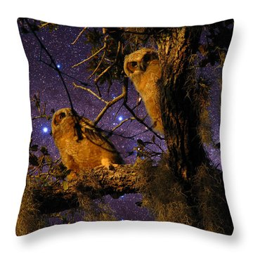 Night Owls Throw Pillow by Phil Penne