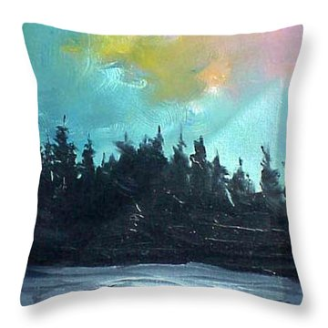 Night River Throw Pillow by Sergey Bezhinets