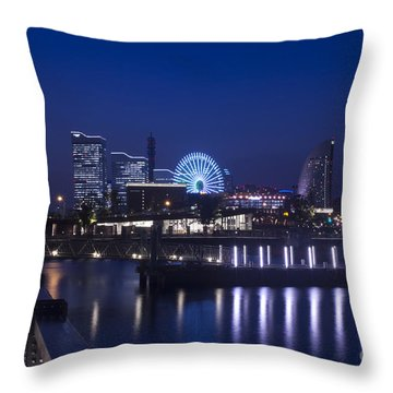 Night Scene In Blue Of Minatomirai In Yokohama Throw Pillow