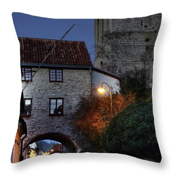 Night Scene In Medieval Town Throw Pillow by Ladi  Kirn