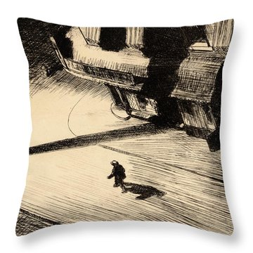 Night Shadows Throw Pillow by Edward Hopper