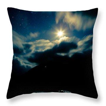Night Sky And Moon Himalyan Throw Pillow