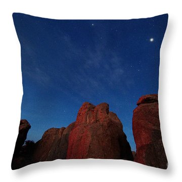 Throw Pillow featuring the photograph Night Sky City Of Rocks by Martin Konopacki
