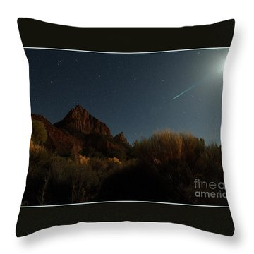 Night Sky Over Zion Throw Pillow