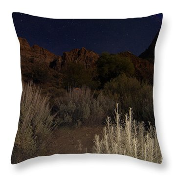 Night Sky Over Zion II Throw Pillow